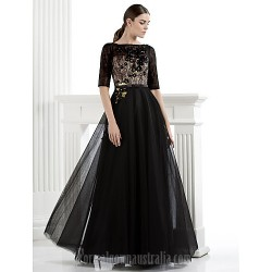 Australia Formal Dress Evening Gowns Black Plus Sizes Dresses Petite A-line Bateau Long Floor-length Lace Dress Tulle